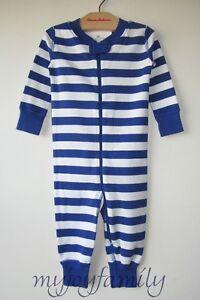 HANNA ANDERSSON Baby Organic Zip Sleeper Deep Blue Sea Stripe 90 3T 3 NWT