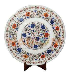 "16"" Round Marquetry Marble Breakfast Serving Plate Inlay Floral Decor Gift P094"