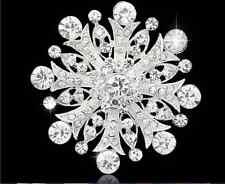 """2.2"""" Silver Tone Clear Diamante Rhinestone Crystal Snow Flake Wedding Brooch"""