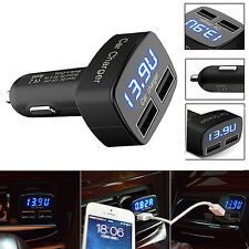 Black 4 In 1 Dual USB Car Charger Adapter Voltage DC 5V 3.1A Tester For iPhone