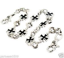 """DK Heavy Iron Cross Trucker Biker Key Jean Wallet Chain NCS95 (28.5"""") Silver"""