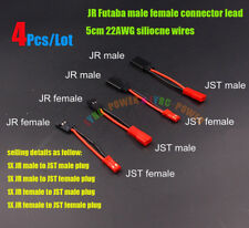 4Pcs/Lot RC JR Futaba male female connector to JST Plug 5cm 22AWG siliocne wires