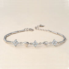 Women Fashion Silver Four Leaf Clover Crystal Bracelet Bangle Jewelry Accessory
