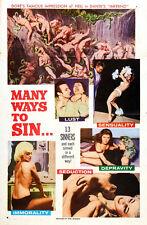 "Many ways to Sin Exploitation Movie Poster Replica 13x19"" Photo Print"