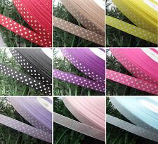 """3/8"""" Upick 5y Lot Color Grosgrain Ribbon Print Dots Appliques/Craft/Wedding R850"""
