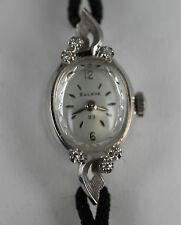 Vintage 14k White Gold Bulova 23 Jewel Ladies Wrist Watch W/ Genuine Diamonds