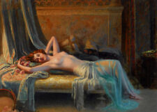 Stunning Oil painting nice young woman sleeping on bed at night Hand painted