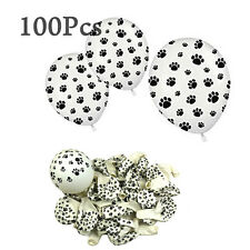 MaGic Show 100Pcs White Balloons with Black Paw Prints Kids' Party Supplies