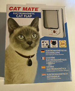 Electromagnetic Cat Flap for 60mm Thick Doors Panels W/ Collar Magnets White NEW