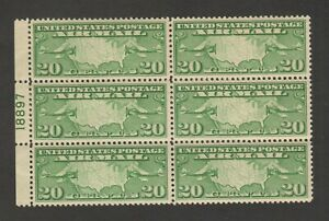 US Scott #C19 20 Cent Map Air Mail Plate Block of 6 MNH F/VF