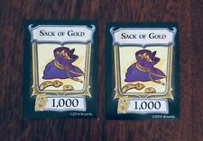 D&D, Dungeon! (1000 Sack of Gold) (Lot of 2) Extra/Replacement Treasure Cards