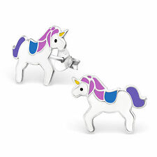 Childrens Girls Sterling Silver Purple blue white unicorn Stud Earrings Boxed