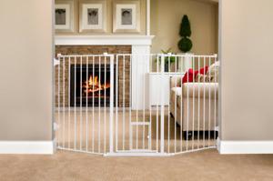 Baby Dog Safety Gate Walk-Thru Adjustable Durable 38 Inch Extra Tall w/ Pet Door