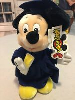 Disney Mickey Mouse Plush Graduation Cap Blue Gown Diploma Stuffed Animal