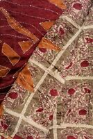 Vintage Indian Pure Silk Kantha Saree Fabric Hand Embroidered Printed Sari Wrap