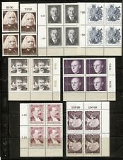 MUSIC, COMPOSERS ON AUSTRIA 1961-1968 LOT OF 14 MOSTLY IN BLOCKS OF 4, MNH