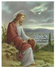 Catholic Print Picture JESUS Sadly watches over Jerusalem (our souls) 8x10""