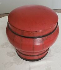 1800's Antiques Chinese Wood Fruit /Rice Storage Bucket/ Basket Painted Red