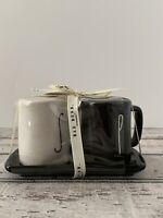 "Rae Dunn ""SALT & PEPPER"" Black and White Mugs with Tray Ceramic Set."