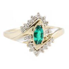 ESTATE 10k Yellow Gold Green Marquise Emerald Gemstone & Diamond Ring Size 10