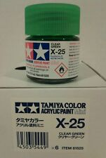 Tamiya acrylic paint X-25 Clear green 10ml Mini.