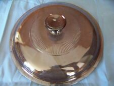 """Glass pan casserole dish lid approx 6"""" VISIONWARE Pyrex replacement piece amber"""