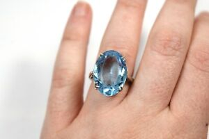 Vintage Sterling Silver Large Blue Glass Solitaire Ring W&G 925 Size J