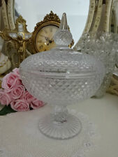 APOTHECARY GLASS JAR  diamond cut footed lid wedding party lolly dining kitchen