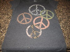 Peace Signs Ladies T-Shirt - Gray - Ladies Small