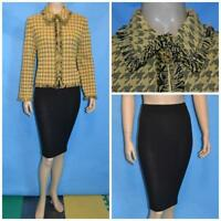 St John Collection Knits Yellow Jacket Black Skirt L 10 2pc Suit Fringes