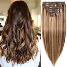 170G++ Extra THICK Double Weft REAL 100% Clip In Human Hair Extensions Highlight