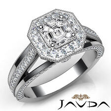 Asscher Diamond Milgrain Pre-Set Engagement Ring GIA E VS1 18k White Gold 1.62Ct