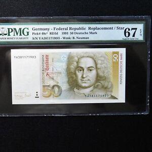 1993 Germany Federal Republic 50 Mark, Pick # 40c*, PMG 67 Superb Gem Unc