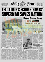 """Superman Movie Daily Planet Newspaper 11"""" X 15"""" Poster Prop Luthor Scheme Bombs"""