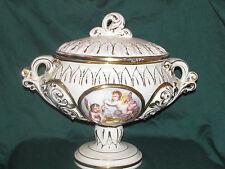 Vintage Keramos R. capodimonte with lid Italy raised cherub design