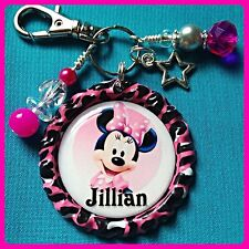 Personalized MINNIE MOUSE Bottle Cap Pendant, Name Necklace Jewelry, Zipper Pull