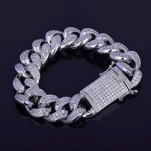 14K White Gold Over Round Cut 4.80CT Cubic Zirconia Cuban Link Men's Bracelet