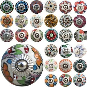 Ceramic Door Knobs OVER 40 DESIGNS  Colourful HIPPY ARTY Cupboard Drawer Pulls