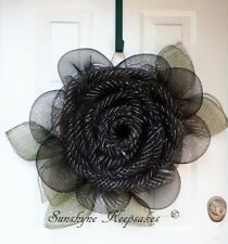 Black Rose Deco Mesh Wreath (Handmade), All Season Wreath, Flower Door Wreath