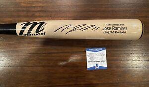 Jose Ramirez Autographed Game Model Marucci 2-Tone Bat Indians Witness Beckett