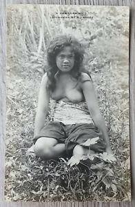Old RPPC Semi NUDE Hawaiian Maid Beauty Girl PHOTO Postcard R.J. Baker HAWAII