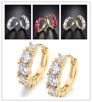 HUCHE 18K Silver & Gold Filled Diamond Red Sapphire Garnet Huggies Lady Earrings