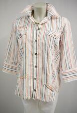 Bonita Damen Hemd Bluse  Gr.38 fein Crash Effekt Weiß gestreift 3/4 Arm