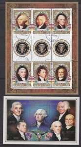 Belize 1986 Used FU Minisheets Presidents of America Washington Adams Jefferson