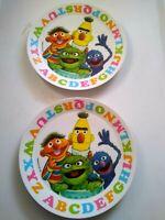 Vintage Muppets Sesame Street 1971 ABC    2- Plastic White Artisan Ware Plates
