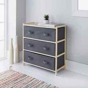 Addis 3 Drawer Chest Box Wooden Drawers Storage Furniture Modern Design Bedroom