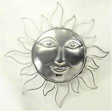 Sun face metal wall art home decor silver