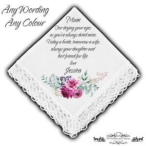 Mother of the Bride Personalised Handkerchief Favour Gift Flowers Wedding Pink