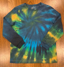 NEW Custom Boutique Old Navy Long Sleeve Tie Dye Unisex Fit L 10/12 Blue Yellow