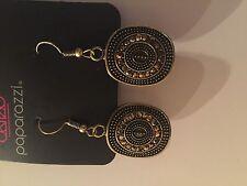 Paparazzi Earrings (new) Glittery Beacons Brass